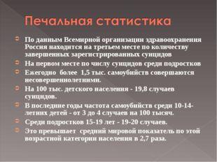 По данным Всемирной организации здравоохранения Россия находится на третьем