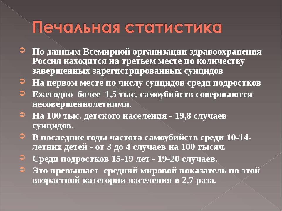 По данным Всемирной организации здравоохранения Россия находится на третьем...