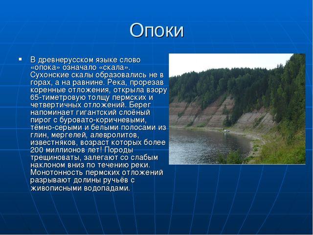 Опоки В древнерусском языке слово «опока» означало «скала». Сухонские скалы о...
