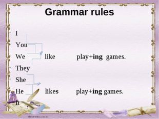 Grammar rules I You We like play+ing games. They She He likes play+ing games.