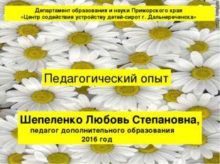 Шепеленко Любовь Степановна, педагог дополнительного образования 2016 год Деп