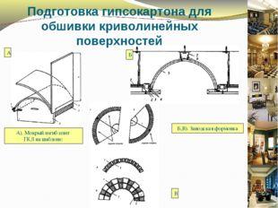 Подготовка гипсокартона для обшивки криволинейных поверхностей А). Мокрый изг