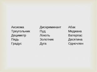 Аксиома Треугольник Дециметр Пядь Градус Дискриминант Пуд Локоть Золотник Д