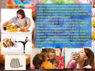 Эмульгаторы Эмульгаторыдобавляются в пищевые продукты с целью создания и ста