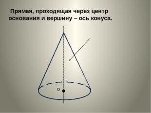 Прямая, проходящая через центр основания и вершину – ось конуса.