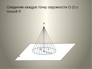 Соединим каждую точку окружности О (r) с точкой Р.