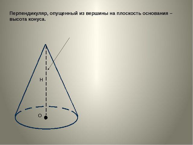 Перпендикуляр, опущенный из вершины на плоскость основания – высота конуса. Н