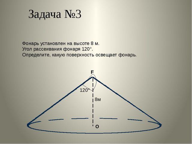 Задача №3 Фонарь установлен на высоте 8 м. Угол рассеивания фонаря 120°. Опре...