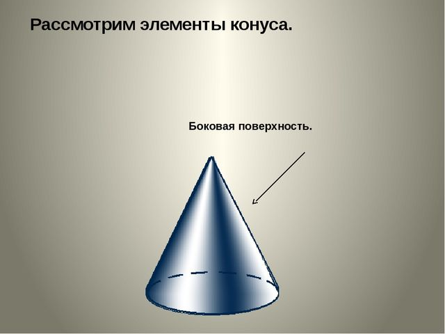 Рассмотрим элементы конуса. Боковая поверхность.