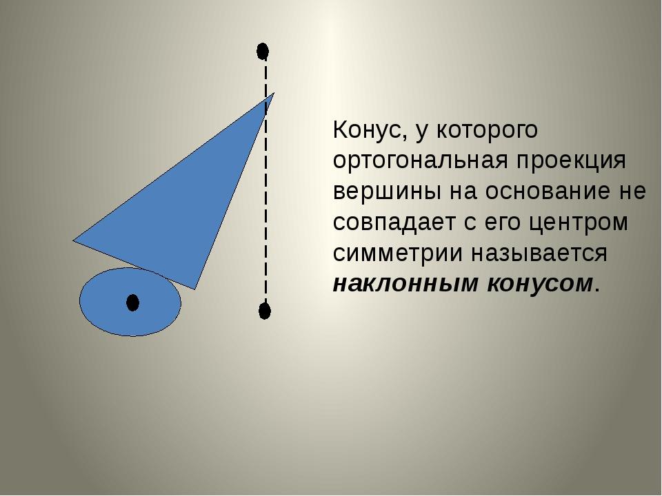 Конус, у которого ортогональная проекция вершины на основание не совпадает с...