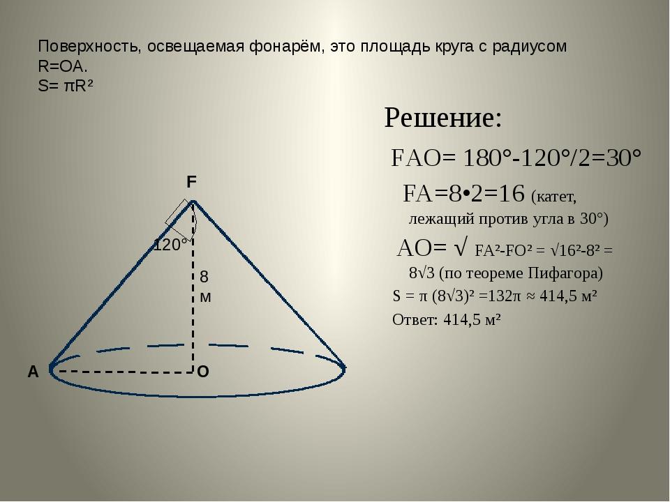 Поверхность, освещаемая фонарём, это площадь круга с радиусом R=ОА. S= πR² Ре...