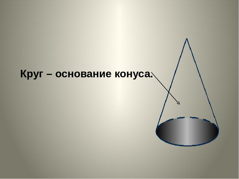 Круг – основание конуса.