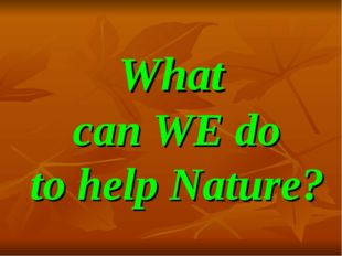 What can WE do to help Nature?