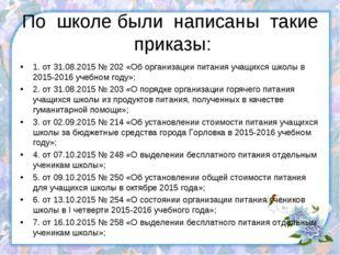 По школе были написаны такие приказы: 1. от 31.08.2015 № 202 «Об организации