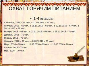 ОХВАТ ГОРЯЧИМ ПИТАНИЕМ 1-4 классы: Сентябрь, 2015 – 66 чел., с 21.09.2015 – 6