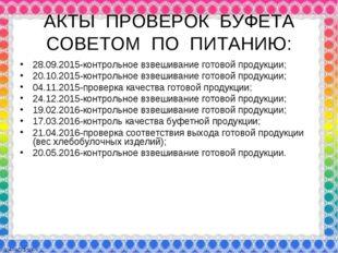 АКТЫ ПРОВЕРОК БУФЕТА СОВЕТОМ ПО ПИТАНИЮ: 28.09.2015-контрольное взвешивание г
