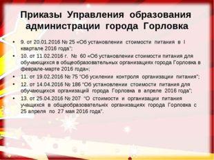 Приказы Управления образования администрации города Горловка 9. от 20.01.2016