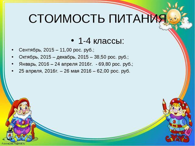 СТОИМОСТЬ ПИТАНИЯ 1-4 классы: Сентябрь, 2015 – 11,00 рос. руб.; Октябрь, 2015...