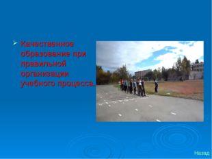 Качественное образование при правильной организации учебного процесса. Назад