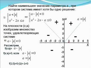 Найти наименьшее значение параметра а , при котором система имеет хотя бы одн
