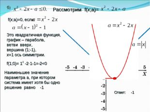 Ответ: -1 Рассмотрим f(х;а)= f(х;a)=0, если Это квадратичная функция, график