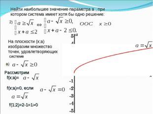 2) Найти наибольшее значение параметра а , при котором система имеет хотя бы