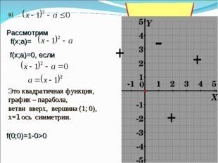 Рассмотрим f(х;а)= f(х;a)=0, если Это квадратичная функция, график – парабола