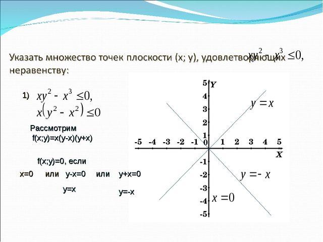 1) Рассмотрим f(х;у)=х(у-х)(у+х) f(х;у)=0, если х=0 или у-х=0 или у+х=0 у=-х...