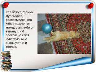 Кот лежит, громко мурлыкает, распрямился, его хвост находится между лап либо