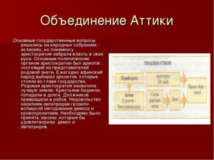 Объединение Аттики Основные государственные вопросы решались на народных собр