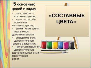 «СОСТАВНЫЕ ЦВЕТА» 5 основных целей и задач дать понятие о составных цветах;