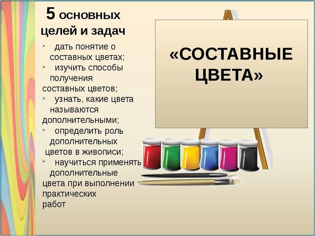 «СОСТАВНЫЕ ЦВЕТА» 5 основных целей и задач дать понятие о составных цветах;...