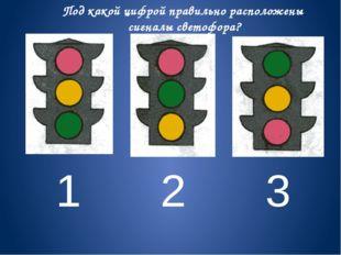1 2 3 Под какой цифрой правильно расположены сигналы светофора?