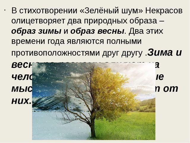 В стихотворении «Зелёный шум» Некрасов олицетворяет два природных образа – об...