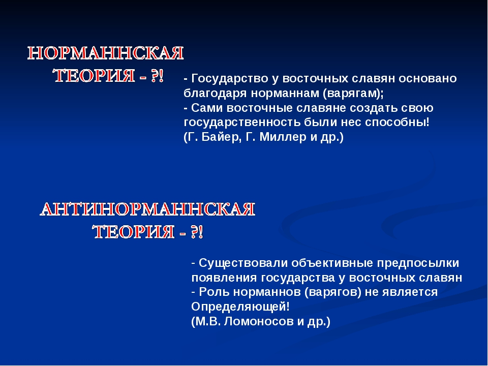 - Государство у восточных славян основано благодаря норманнам (варягам); - Са...