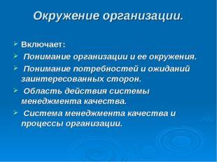 Окружение организации. Включает: Понимание организации и ее окружения. Поним