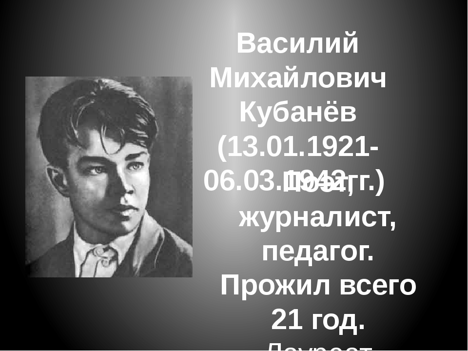 Василий Михайлович Кубанёв (13.01.1921-06.03.1942гг.) Поэт, журналист, педаго...