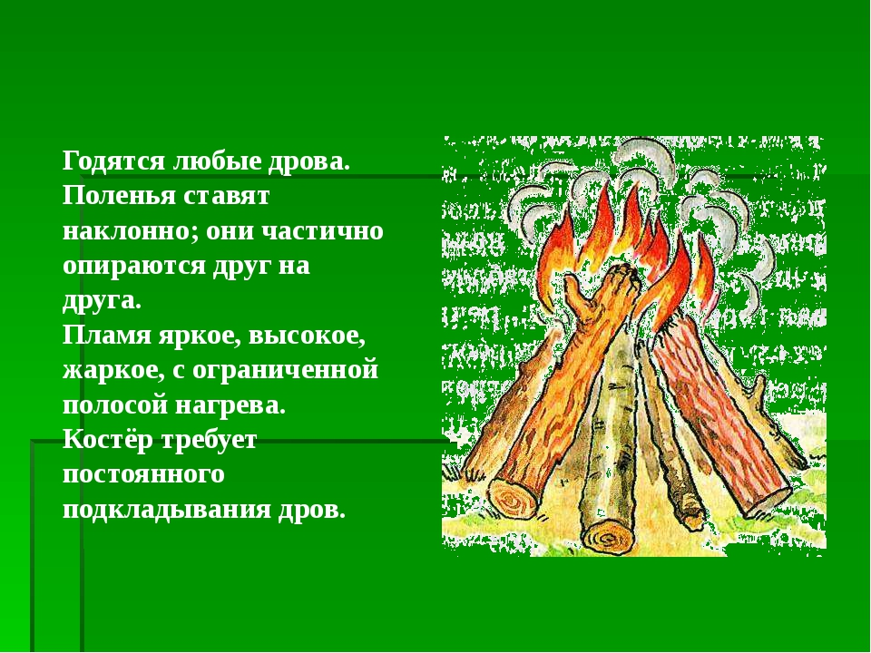 Годятся любые дрова. Поленья ставят наклонно; они частично опираются друг на...