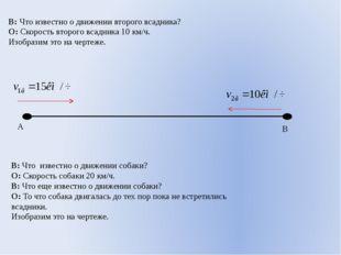 В: Что известно о движении второго всадника? О: Скорость второго всадника 10