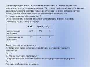 Давайте проведем анализ всех величин записанных в таблице. Время нам известно