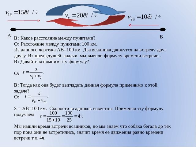 В: Какое расстояние между пунктами? О: Расстояние между пунктами 100 км. Из...