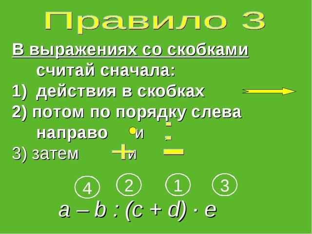 В выражениях со скобками считай сначала: действия в скобках 2) потом по поряд...