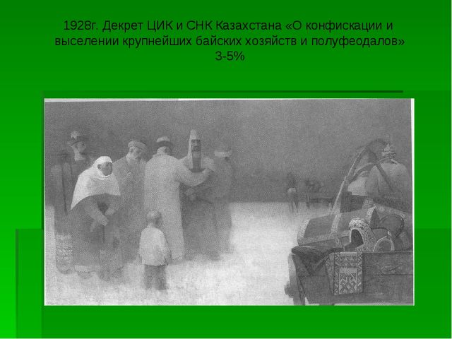 1928г. Декрет ЦИК и СНК Казахстана «О конфискации и выселении крупнейших байс...