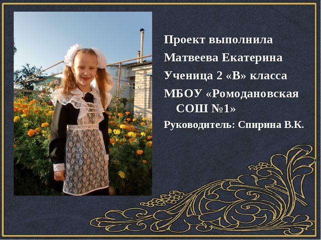 Проект выполнила Матвеева Екатерина Ученица 2 «В» класса МБОУ «Ромодановская...