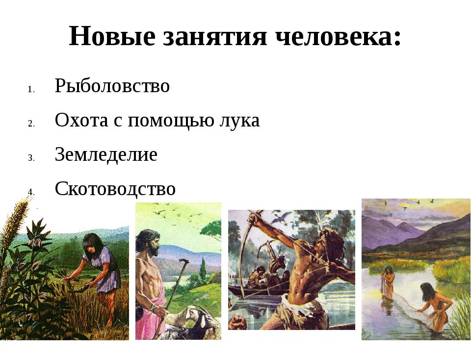 Новые занятия человека: Рыболовство Охота с помощью лука Земледелие Скотоводс...