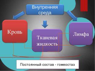 Постоянный состав - гомеостаз Внутренняя среда Кровь Тканевая жидкость Лимфа