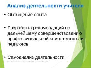 Анализ деятельности учителя Обобщение опыта Разработка рекомендаций по дальне