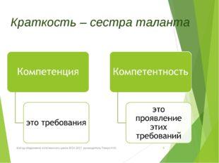 Краткость – сестра таланта Метод обединение эстетического цикла 2016-2017. р