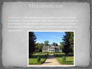 Ссылка в село Михайловское, находившееся вдали от городов, затерянное в глуши