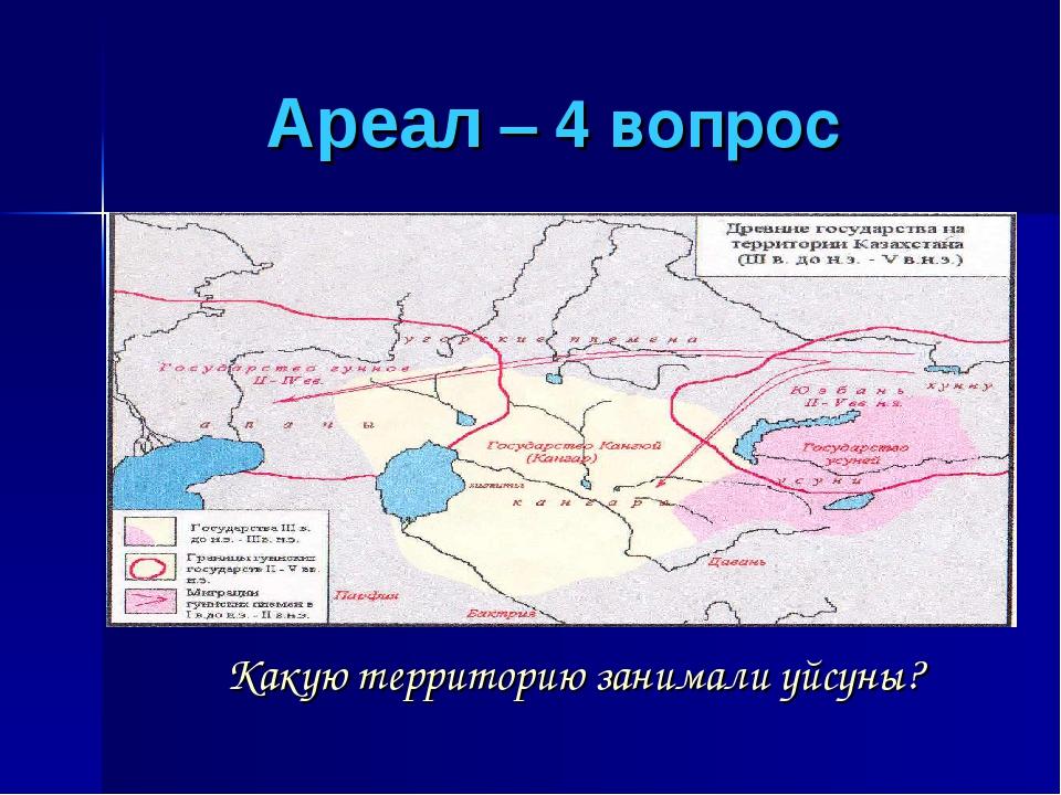 Ареал – 4 вопрос Какую территорию занимали уйсуны?